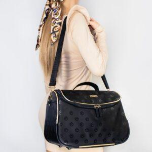 Duża kosmetyczka damska kuferek z paskiem na ramię